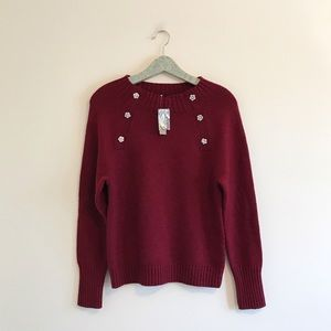 J. Crew | Crewneck Sweater with Jeweled Buttons
